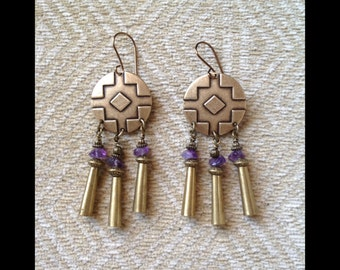 amethyst earrings tribal disc jingle cones statement earrings