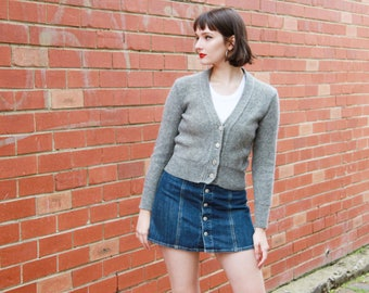 Vintage 1960s Grey Wool Sweater / Made in Italy / Daisy Buttons / Petite / XS