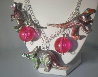 silver neon dinosaur necklace statement