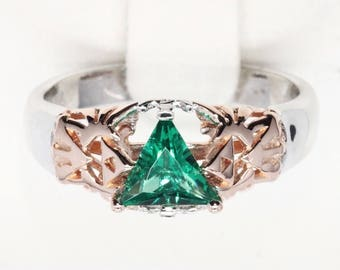 Triangle Stone Engagement Promise Ring 8 Bit Gamer Video Game