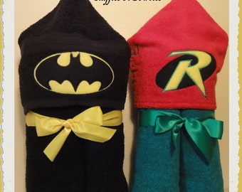 Inspired Batman and Robin Inspired Hoodie Towels...Everyone wants there own personalized towel..Great to take on vacations or just for home