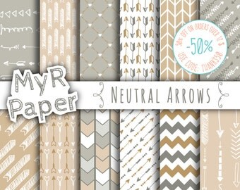 "Arrow digital paper: ""NEUTRAL ARROWS"" digital paper pack of backgrounds in grey (gray), brown and beige with arrow and chevron"