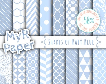 """SALE 50% Baby Blue Digital Paper: """"Shades of Baby Blue"""" Digital Pack and Backgrounds with Chevron, Damask, Triangles, Stripes and Polka Dots"""