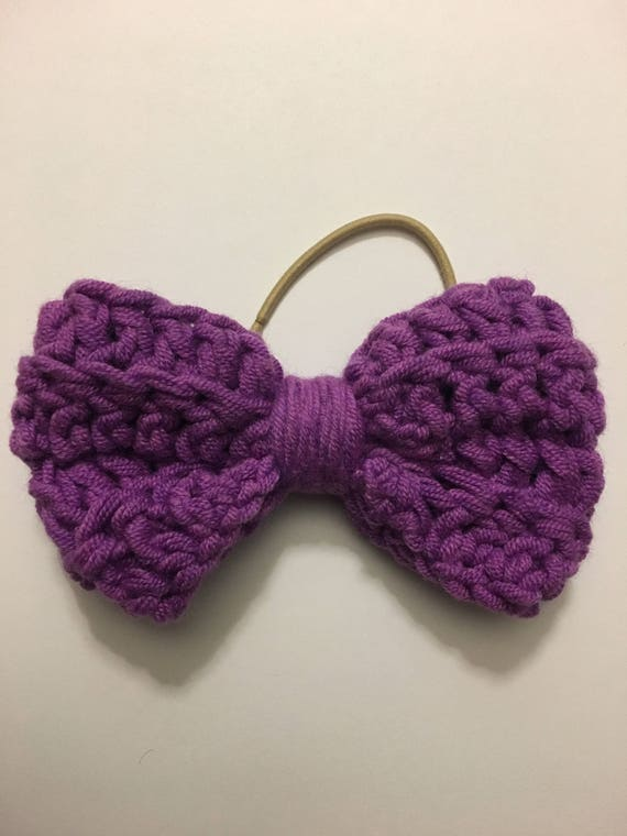 Hair bow, crochet bow, girls accessories, purple bow, knit hair accessories, crochet hair bow, bow hair tie