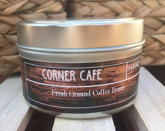 Corner Cafe, Soy Candle,  Coffee Candle, Gift for Coffee Lover, Gift for husband, Gift for Wife, Coffee Lover
