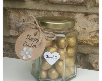 Personalised happy easter jar of mini gold chocolate easter eggs. Easter treat's for children. Custom Easter egg jar.