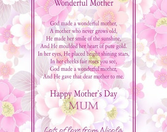 Personalised Mother's Day Print.