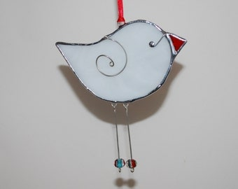 Fun White Stained Glass Bird - 3D Stained Glass Ornament - Christmas Decoration Home Decor Suncatcher 3Dimensional Wire Wings