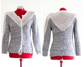 80s gray and white knit cardigan