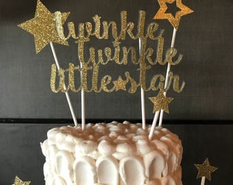 Twinkle Twinkle Little Star Cake Topper with extra stars  // birthday party  // baby shower / cake topper/ little star/ The CELEBRATE Crate