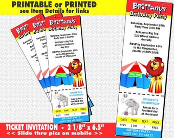 Circus Ticket Invitation, Printable with Printed Option, Circus Theme, Big Top Invites, Girl or Boy Birthday, Carnival, Child
