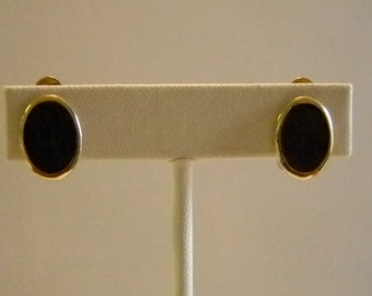 Small Gold Black Enamel Clip Earrings