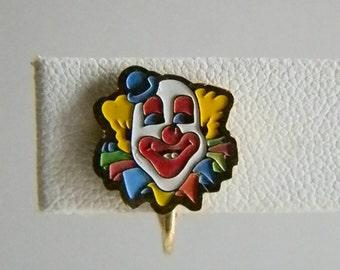 Colorful Enamel Bozo Clown Circus Clip Earrings