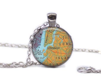 Brooklyn New York Map Pendant Map Necklace Brooklyn Map Jewelry