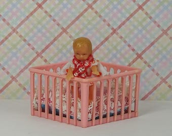 Doll house vintage play pen baby doll 1960s 1970s furniture crib nursery pink