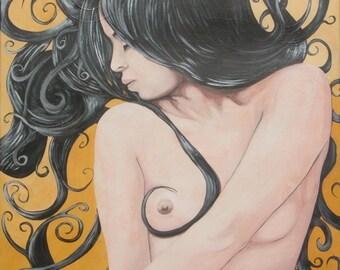 lunghi capelli neri dipinto smalti su tela misura 90 x 100 cm. telaio 2cm.