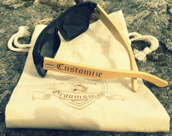 Customized Bamboo Sunglasses and Matching Printed Canvas Bag