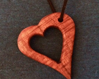 KOA wood heart pendant necklace
