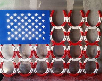 American Flag out of horse shoes