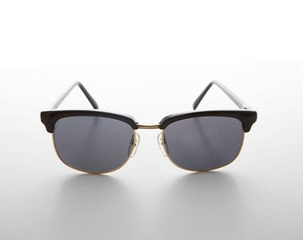 Classic Half Frame Nerd Hipster Horn Rim Soho Vintage Sunglass - Truman