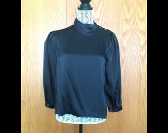 80s Silk Button Collar Puff Sleeve Blouse - Office, Date Chic - S/M