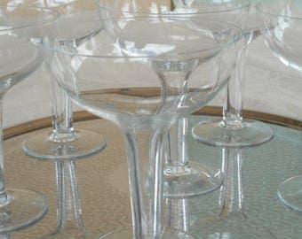 Hollow Stemmed Champagne Glasses ~ Vintage 1960s ~ Set of Six