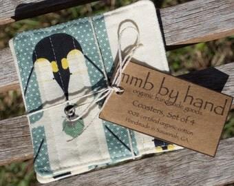 Organic Set of 4 Coasters - Charley Harper Design, Brrrrthday Penguins