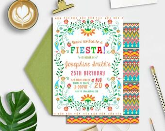 Mexican Fiesta Birthday Invitation, Fiesta Adult Birthday Invitation, ANY age birthday invitation, Mexican Fiesta Invite, Printable
