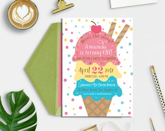 Ice cream invitation, Ice cream Birthday Invitation, Ice Cream Parlour Birthday, Ice Cream Social Invite, Ice Cream Party, 1st Birthday