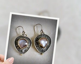 little muave rose cut moonstone earrings and reticulated sterling silver and 22kt gold