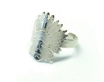 Indian ring Silver 925/000 - ring Indian head, Indian headdress, Silver 925/000 - Indian chief 925 silver ring massif