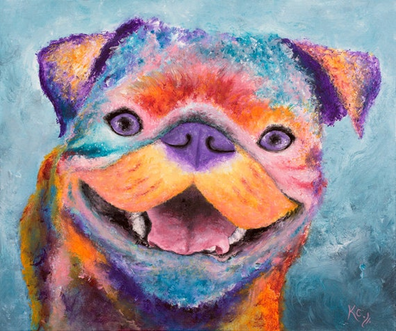 Pug Painting - Pug Wall Art, Pop Art Pug Dog, Colorful Pug Portrait, Pop Dog Art. Original Painting size 20 x 24 inches.