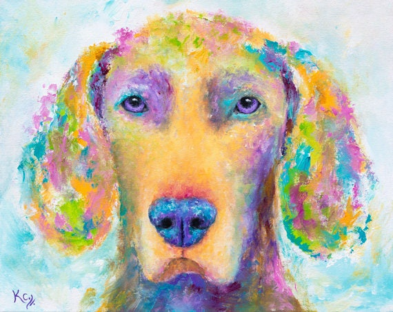 Weimaraner Dog Painting, Original Dog Art, Weimaraner Art, Colorful Dog Wall Art, Weimie Dog Portrait. 16 x 20 inches. Acrylic on Canvas.