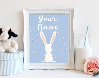 Rabbit nursery wall art blue peach room boy girl custom name baby gift personalised white rabbit print modern childs room decor