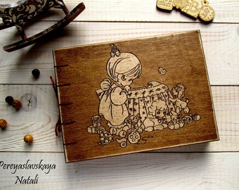 Baby Shower Guest Book, Gift for New Parents, Baby Memory Book, Baby guest book  in wooden cover
