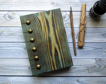Wooden handmade book, Notebook in a wooden cover with aged sheets, Exclusive gift, Wedding accessory for recording, wedding decorations