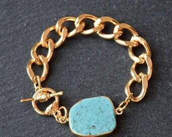 Raw Turquoise Stone Chain Bracelet