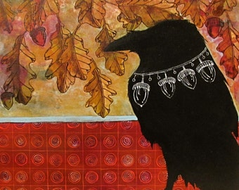 Acorns - Original, Acrylic,Raven, painting. Autumn, acorns, and Oak leaves, on wood panel