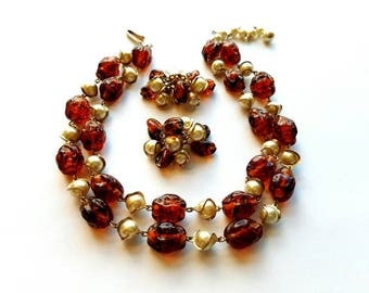 Vintage Double Strand Glass Rootbeer Beads and White Glass Pearl Beads Choker Necklace and Matching Cluster Dangling Earrings