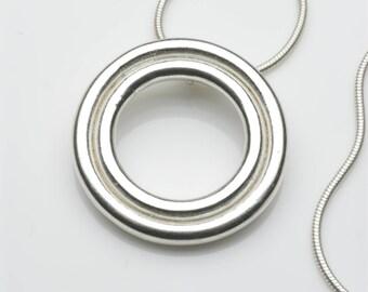 Silver pendant, minimal pendant, circle pendant, statement necklace