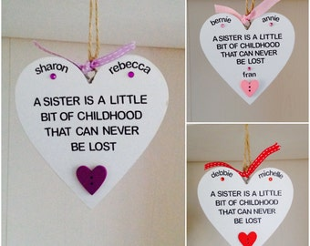 Personalised Sister Quote Heart Hanging Plaque - Sister Gifts - Sister Plaques - Personalised Plaques
