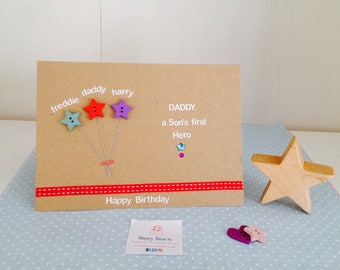 Daddy, A Son's First Hero - Personalised Handmade Happy Birthday Card - Fathers Day Card - Dad Happy Birthday Cards