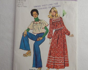 70's Junior / Teen's Top and Skirt Pattern -  1973 Simplicity 6037