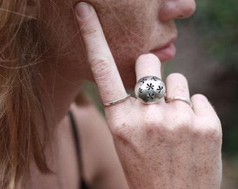 Flower Ring, Flower Silver Ring, Domed Ring, Domed Silver Ring, Statement Ring, hammered ring, Statement Ring, Flower Jewellery