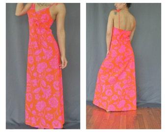 Hawaiian dress - Floral dress - 70s dress - Maxi length - Summer dress - Tie straps - Small-Medium
