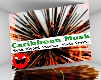 Incense Sticks - Caribbean Musk, FREE SHIPPING, 100 Incense Sticks, Hand Dipped Incense, Made Fresh! ***Free Shipping in the U.S.***
