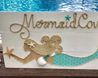 "Hamade ""Mermaid Cove"" Mermaid with Rope Beach Pallet Art Coastal Decor Mermaid Art Rope Art"