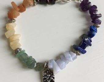 Reiki charged Chakra Bracelet with Customized Charm