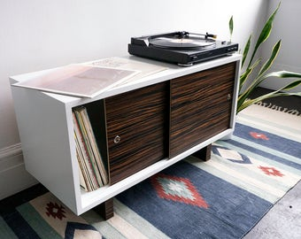 Record Player Stand and Media Console - White Lacquer with Sliding Doors and Wood Feet - Mid Century inspired