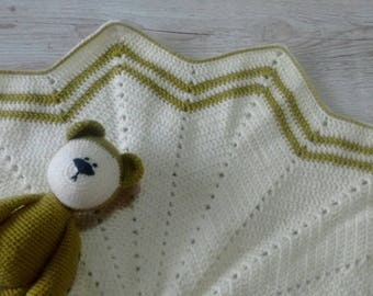 Teddy Bear and Blanket * Baby Shower Gift - New Baby - Baby Blanket - Teddy Bear - Green Baby Gift Set